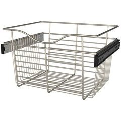 18 x 14 x 11 Inch Closet Pullout Basket - Satin Nickel