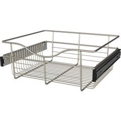 18 x 16 x 7 Inch Closet Pullout Basket - Satin Nickel