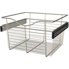 18 x 16 x 11 Inch Closet Pullout Basket - Satin Nickel