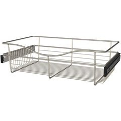 24 x 14 x 7 Inch Closet Pullout Basket - Satin Nickel