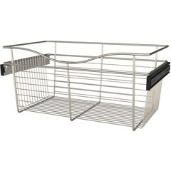 24 x 14 x 11 Inch Closet Pullout Basket - Satin Nickel