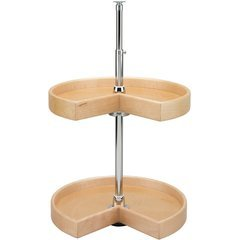 18 Inch 4NW Series Kidney Two Shelf Lazy Susan - Natural Wood