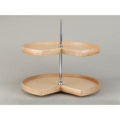 32 Inch 4NW Series Kidney Two Shelf Lazy Susan - Natural Wood