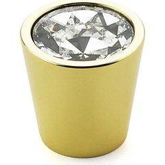 Stargaze 1-1/16 Inch Diameter Cylinder Glass Polished Brass Cabinet Knob