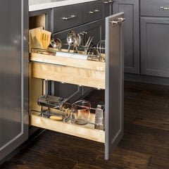 No Wiggle 8 Inch Utensil Bin Base Cabinet Pullout with Soft-Close Undermount
