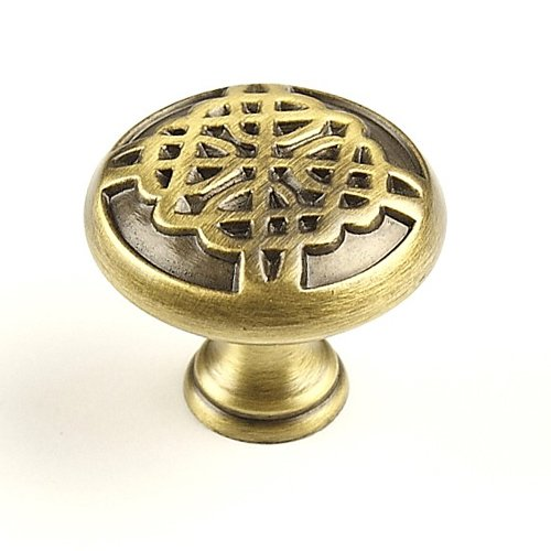 Highlander 1-3/8 Inch Diameter Weathered Brass Cabinet Knob <small>(#29217-WB)</small>