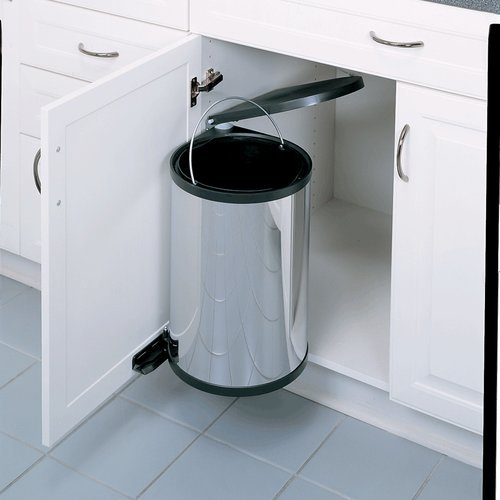 Rev-A-Shelf Single Trash Pullout 15 Liter-Stainless Steel 8-010314-15