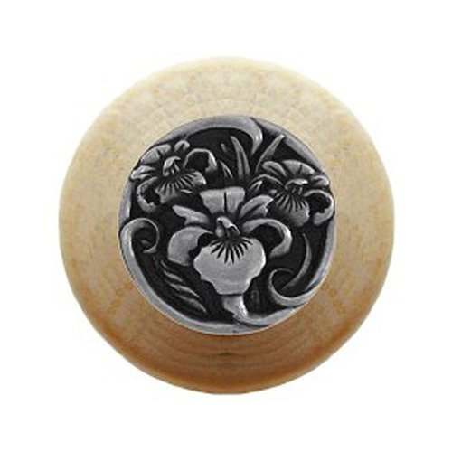 Notting Hill Floral 1-1/2 Inch Diameter Brilliant Pewter Cabinet Knob NHW-728N-BP