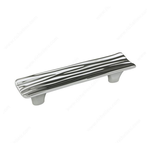 Richelieu Striated 3-3/4 Inch Center to Center Chrome Cabinet Pull 159096140