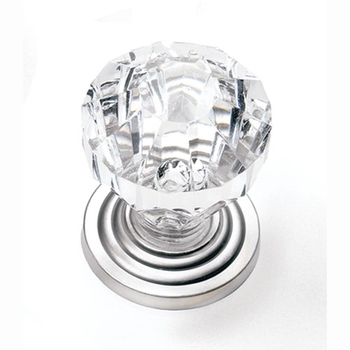 Kristal 1 Inch Diameter Acrylic/Satin Pewter Cabinet Knob <small>(#82059)</small>