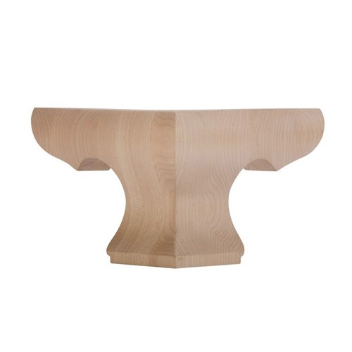 "Grand River Pedestal Corner Bun Foot 4-1/2"" H-Hardwood BFPED-C-H"