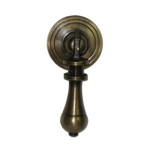 Teardrop Pulls 1-1/8 Inch Diameter Unlacquered Antique Brass Pendant Pull <small>(#HTP1014)</small>