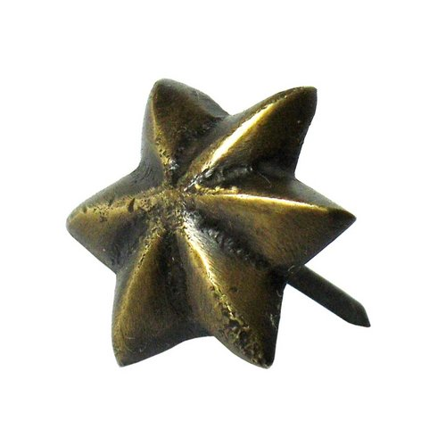 "Small 6-Point Star Clavo 11/16"" Dia - Antique Brass <small>(#HCL1250)</small>"