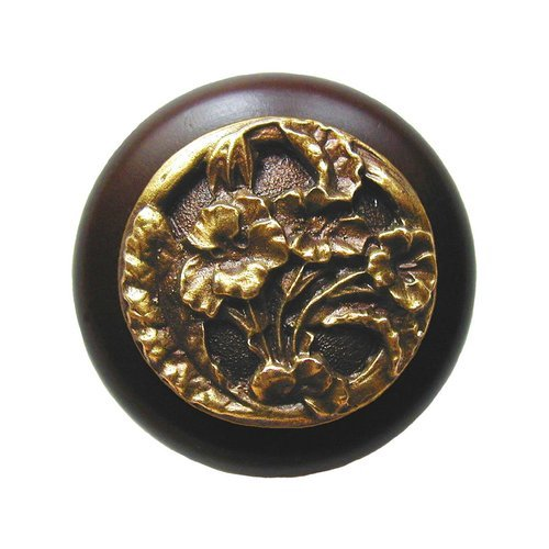 Notting Hill Floral 1-1/2 Inch Diameter Antique Brass Cabinet Knob NHW-704W-AB