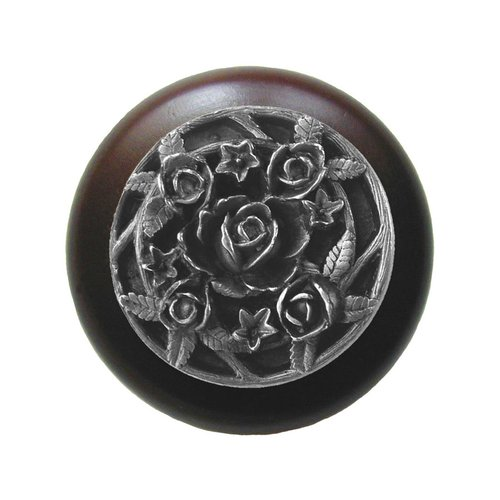 Notting Hill Floral 1-1/2 Inch Diameter Antique Pewter Cabinet Knob NHW-726W-AP