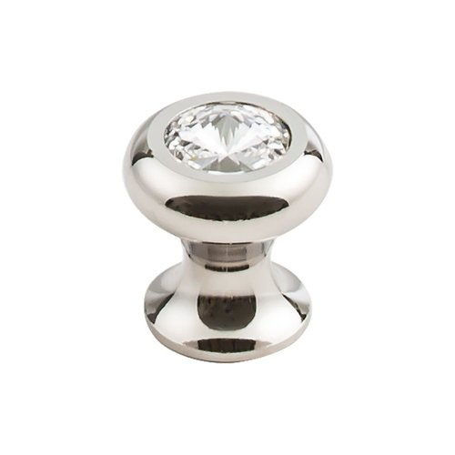 Top Knobs Serene 1 Inch Diameter Clear/Polished Nickel Cabinet Knob TK845PN
