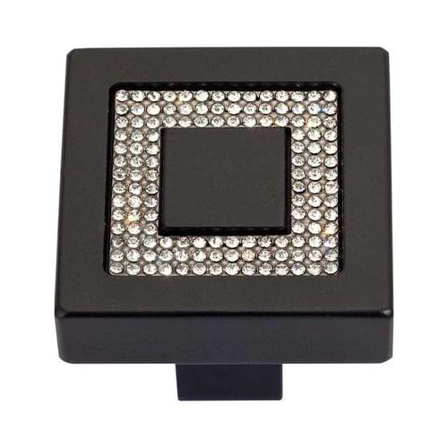 Atlas Homewares Boutique Crystal 1-3/8 Inch Diameter Matte Black Cabinet Knob 3192-BL