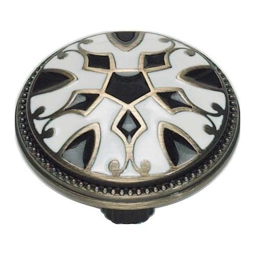 Atlas Homewares Canterbury 1-1/2 Inch Diameter Black And White Cabinet Knob 3186-B-W