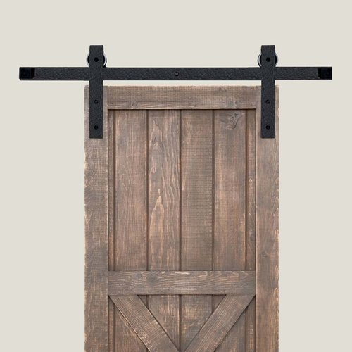 Acorn Manufacturing Basic Barn Door Rolling Hardware and 7 feet Track Rough Iron BH3BI-7