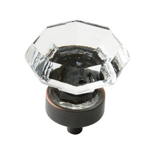 Amerock Traditional Classics 1-1/4 Inch Diameter Crystal/Oil Rubbed Bronze Cabinet Knob BP55268CORB