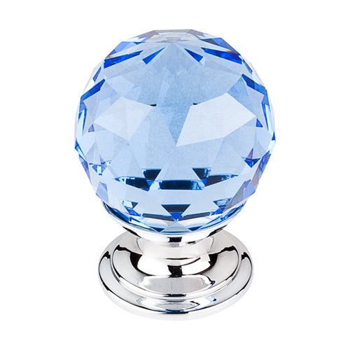 Top Knobs Crystal 1-1/8 Inch Diameter Blue Crystal Cabinet Knob TK123PC