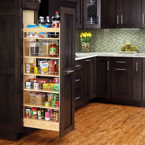 "Rev-A-Shelf 8"" W X 58"" H Wood Pantry With Slide 448-TP58-8-1"