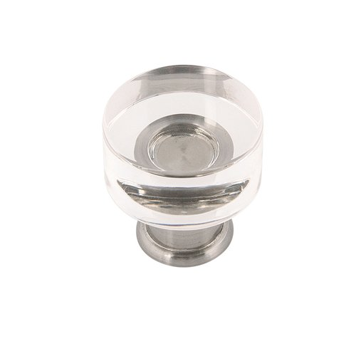 "Hickory Hardware Midway Knob 1"" Dia Crysacrylic with Satin Nickel P3708-CASN"