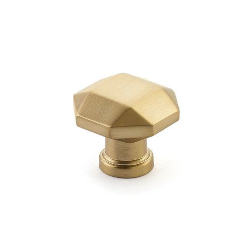 "Schaub and Company Menlo Park Faceted Knob 1-1/4"" Dia Signature Satin Brass 531-SSB"