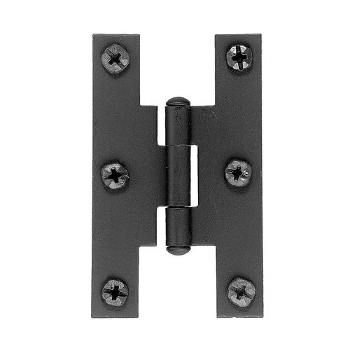 "Acorn Manufacturing Smooth Iron Flush ""H"" Hinge Black Iron AH1BQ"