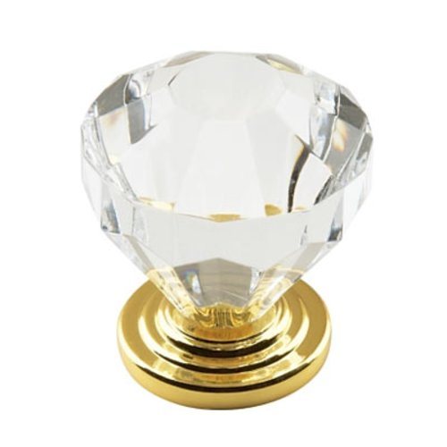 Amerock Traditional Classics 1-1/4 Inch Diameter Acrylic/Burnished Brass Cabinet Knob BP14303-CBB