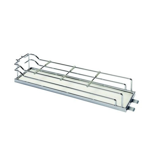 Kessebohmer Tray Set For Base Pullout 4 inch Wide Chrome and White 546.63.278