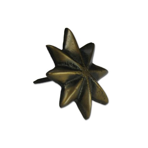 "Gado Gado Large 8-Point Star Clavo 1-7/8"" Dia - Antique Brass HCL1156"