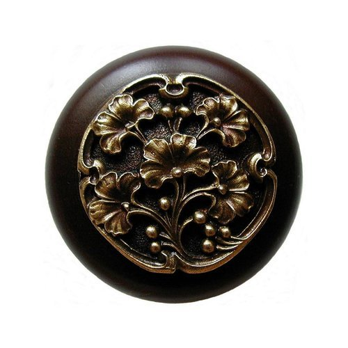 Notting Hill Leaves 1-1/2 Inch Diameter Antique Brass Cabinet Knob NHW-702W-AB