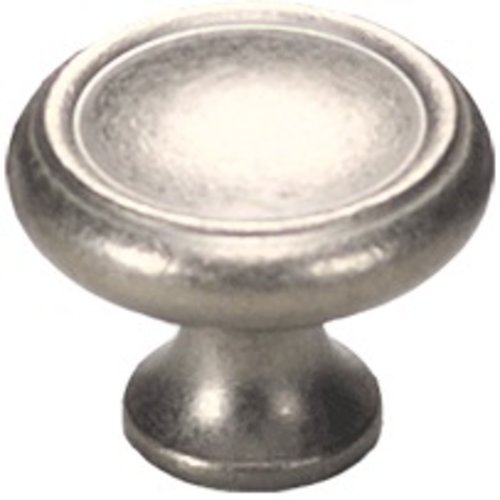 Schaub and Company Solid Brass Traditional Designs 1-1/4 Inch Diameter Distressed Nickel Cabinet Knob 711-DN