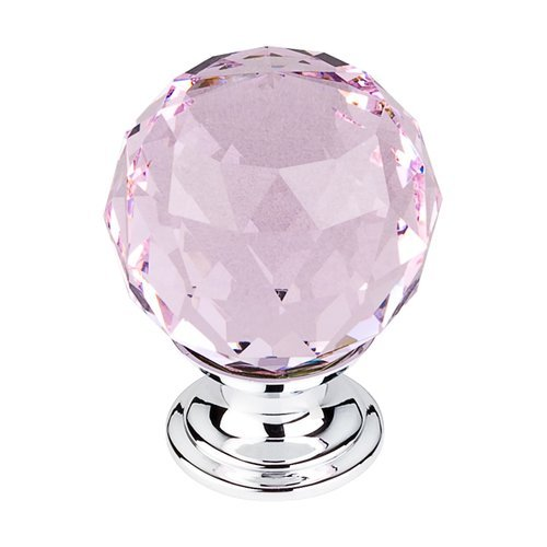 Top Knobs Crystal 1-3/8 Inch Diameter Pink Crystal Cabinet Knob TK118PC