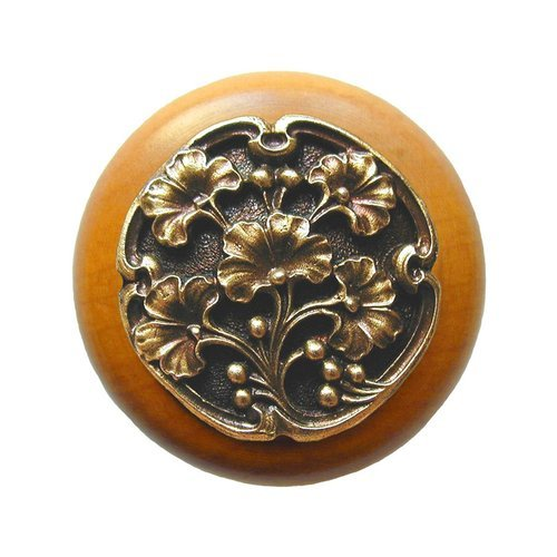 Leaves 1-1/2 Inch Diameter Antique Brass Cabinet Knob <small>(#NHW-702M-AB)</small>