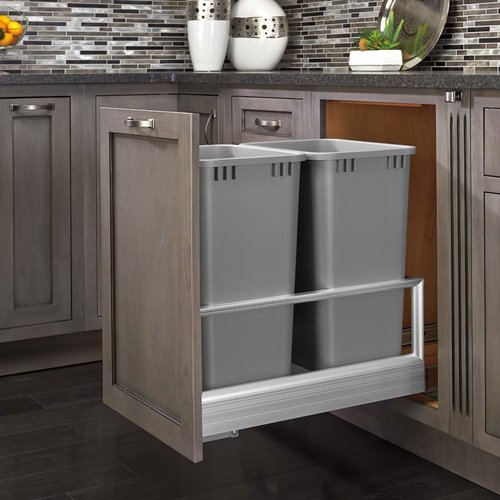 Rev-A-Shelf Double Trash Pullout 50 Quart-Silver 5149-2150DM-217