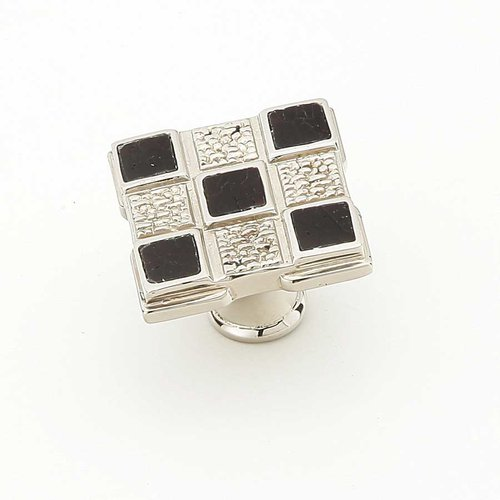 Schaub and Company Avalon Bay 1-1/4 Inch Diameter Polished Nickel w/ Black Mother Pearl Inlay Cabinet Knob 671-B/PN