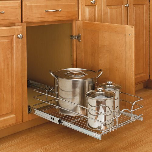 9 inch Single Pull-Out Basket Chrome <small>(#5WB1-0918-CR)</small>