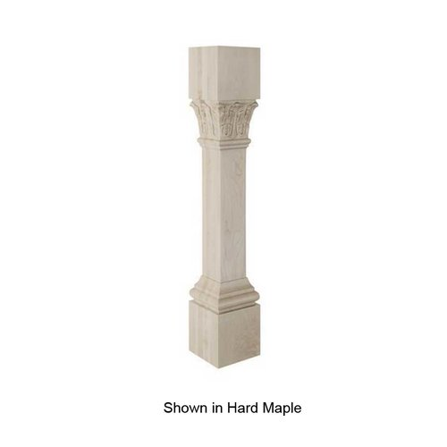 Brown Wood Ionic Acanthus Column Unfinished Red Oak 01520223AK1