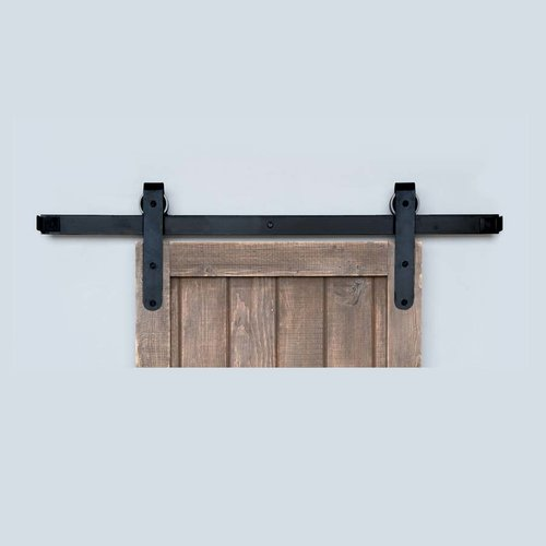 Designer Barn Door Rolling Hardware & 8' Track Smooth Iron <small>(#BH5BI-8)</small>