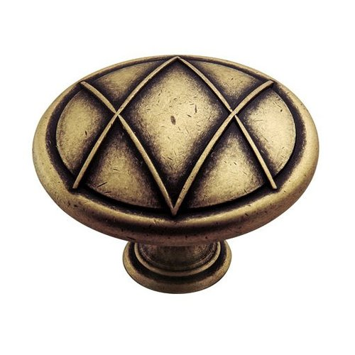 Amerock Lattice 1-11/16 Inch Diameter Distressed Brass Cabinet Knob BP554202DBS