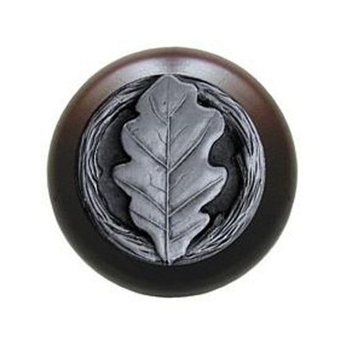 Notting Hill Leaves 1-1/2 Inch Diameter Antique Pewter Cabinet Knob NHW-744W-AP