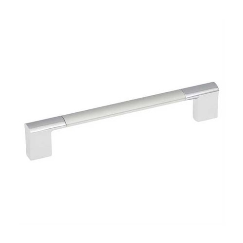 Hickory Hardware Dew 5-1/16 Inch Center to Center Chrome & Satin Pearl Cabinet Pull P3699-CHSP
