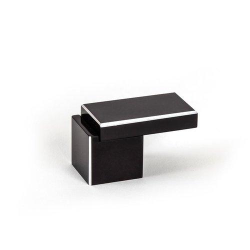 R. Christensen Structure 2 Inch Diameter Black Silver Cabinet Knob 9680-4000-C