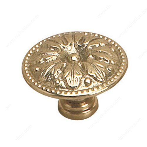 Richelieu Louis XV 1-1/4 Inch Diameter Brass Cabinet Knob 2447931130