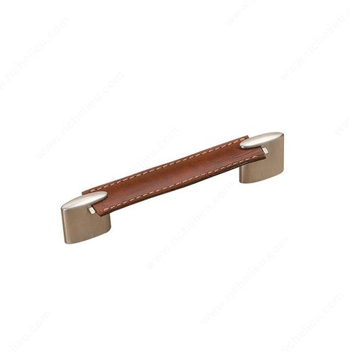 Richelieu Wood & Leather 5-1/16 Inch Center to Center Brushed Nickel/Brown Leather Cabinet Pull 74511612819545
