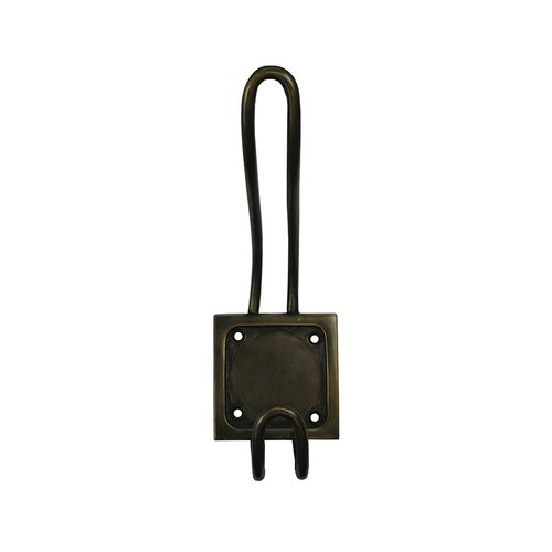 "Square-Back Double Hook 6-1/2"" L X 2-1/4"" W - Antique Brass <small>(#HHK7044)</small>"