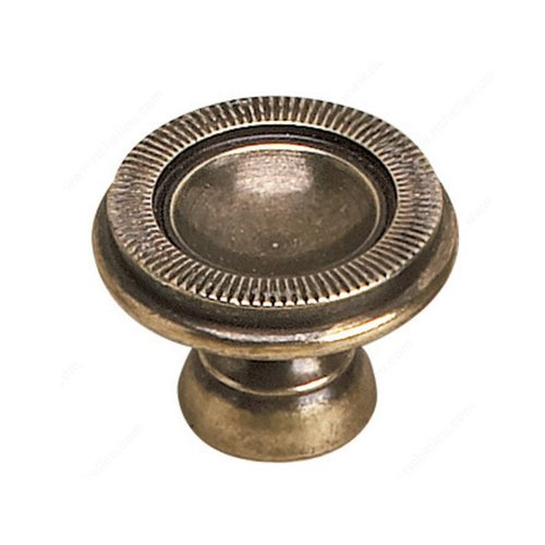 Empire 1-3/8 Inch Diameter Burnished Brass Cabinet Knob <small>(#2440535BB)</small>