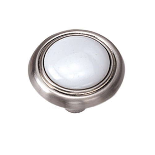 Laurey Hardware First Family 1-1/4 Inch Diameter White/Satin Chrome Cabinet Knob 15438